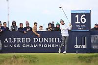 Matthew Fitzpatrick (ENG) on the 16th tee during Round 3 of the Alfred Dunhill Links Championship 2019 at St. Andrews Golf CLub, Fife, Scotland. 28/09/2019.<br /> Picture Thos Caffrey / Golffile.ie<br /> <br /> All photo usage must carry mandatory copyright credit (© Golffile | Thos Caffrey)