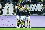 Solna 2014-05-05 Fotboll Allsvenskan AIK - Helsingborgs IF :  <br /> AIK:s Henok Goitom gratuleras av AIK:s Alexander Milosevic och AIK:s Kenny Pavey efter sitt 2-1 m&aring;l<br /> (Foto: Kenta J&ouml;nsson) Nyckelord:  Friends Arena AIK Gnaget HeIF HIF Helsingborg jubel gl&auml;dje lycka glad happy
