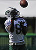 Lucky Whitehead #8, New York Jets wide receiver, makes a catch during the first team practice of training camp at the Atlantic Health Jets Training Center in Florham Park, NJ on Saturday, July 29, 2017.