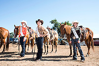 Miss Rodeo Colorado 2016 contestants from left, Alex Hyland, Kelsie Winslow, and Madelaine Mills, during the Miss Rodeo Queen Colorado competition at the Greely Stampede in Greely, Colorado, July 1, 2015.<br /> <br /> Photo by Matt Nager