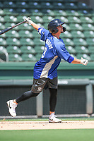 """Dodgers minor leaguer Chase Barbary bats in a """"Sandlot""""-style game concluding a series of workouts with local MLB and MiLB players from around the Upstate region on Thursday June 25, 2020, at Fluor Field at the West End in Greenville, South Carolina. (Tom Priddy/Four Seam Images)"""