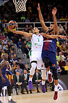 Turkish Airlines Euroleague 2017/2018.<br /> Regular Season - Round 13.<br /> FC Barcelona Lassa vs Unicaja Malaga: 83-90.<br /> Ray McCallum vs Adam Hanga.