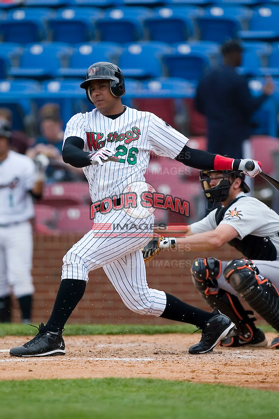 Anderson Gomez (26) of the Winston-Salem Warthogs follows through on his swing versus the Frederick Keys at Ernie Shore Field in Winston-Salem, NC, Sunday, April 20, 2008.