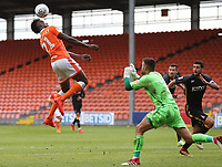 Blackpool's Armand Gnanduillet earns his side a penalty from a foul by Bristol Rovers' Sam Slocombe<br /> <br /> Photographer Rachel Holborn/CameraSport<br /> <br /> The EFL Sky Bet League One - Blackpool v Bradford City - Saturday September 8th 2018 - Bloomfield Road - Blackpool<br /> <br /> World Copyright &copy; 2018 CameraSport. All rights reserved. 43 Linden Ave. Countesthorpe. Leicester. England. LE8 5PG - Tel: +44 (0) 116 277 4147 - admin@camerasport.com - www.camerasport.com