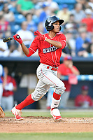Lakewood BlueClaws second baseman Daniel Brito (21) swings at a pitch during a game against the Asheville Tourists at McCormick Field on June 2, 2017 in Asheville, North Carolina. The Tourists defeated the BlueClaws 7-5. (Tony Farlow/Four Seam Images)