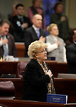 Las Vegas Mayor Carolyn Goodman says the Pledge of Allegiance on the Assembly floor at the Legislative Building in Carson City, Nev., on Wednesday, Feb. 27, 2013..Photo by Cathleen Allison