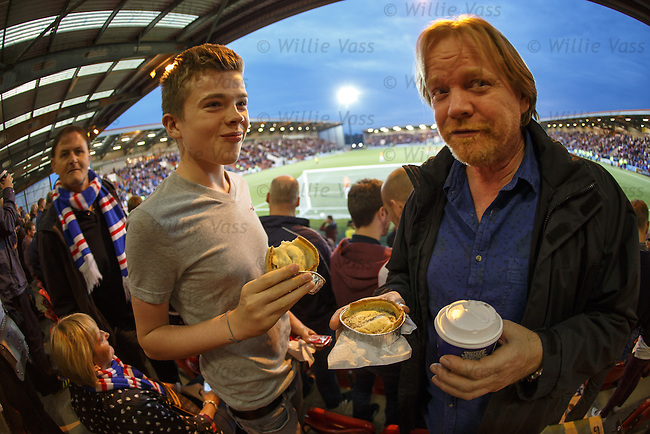 Airdrie scotch pies, I'm not brave enough to try them for a change but these Rangers fans seem to enjoy them