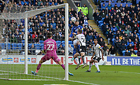 Cardiff City's Callum Paterson sees his header come off the crossbar<br /> <br /> Photographer Ian Cook/CameraSport<br /> <br /> The EFL Sky Bet Championship - Cardiff City v Swansea City - Sunday 12th January 2020 - Cardiff City Stadium - Cardiff<br /> <br /> World Copyright © 2020 CameraSport. All rights reserved. 43 Linden Ave. Countesthorpe. Leicester. England. LE8 5PG - Tel: +44 (0) 116 277 4147 - admin@camerasport.com - www.camerasport.com