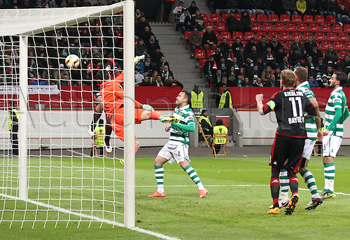 25.02.2016. Leverkusen, Germany. UEFA Europa League football. Bayer Leverkusen versus Sporting Lisbon. Chance for a goal from Javier Chicharito Hernandez (Bayer 04 Leverkusen) in the net as his team leads 1-0
