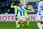 Martin Braithwaite of CD Leganes and Markel Bergara of Getafe FC during La Liga match between CD Leganes and Getafe CF at Butarque Stadium in Leganes, Spain. January 17, 2020. (ALTERPHOTOS/A. Perez Meca)