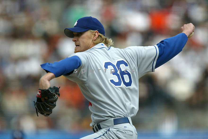 Jeff Weaver, of the Los Angeles Dodgers, in action against the San Francisco Giants, on September 18, 2005...Giants win 5-3...Chris Bernacchi / SportPics