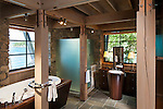 Interior photo of home on remote Shaw Island. This image is available through an alternate architectural stock image agency, Collinstock located here: http://www.collinstock.com