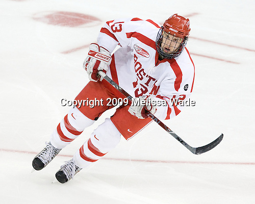 Nick Bonino (BU - 13) - The Boston University Terriers defeated the Ohio State University Buckeyes 8-3 in the 2009 Northeast Regional Semifinal on Saturday, March 28, 2009, at the Verizon Wireless Center in Manchester, New Hampshire.