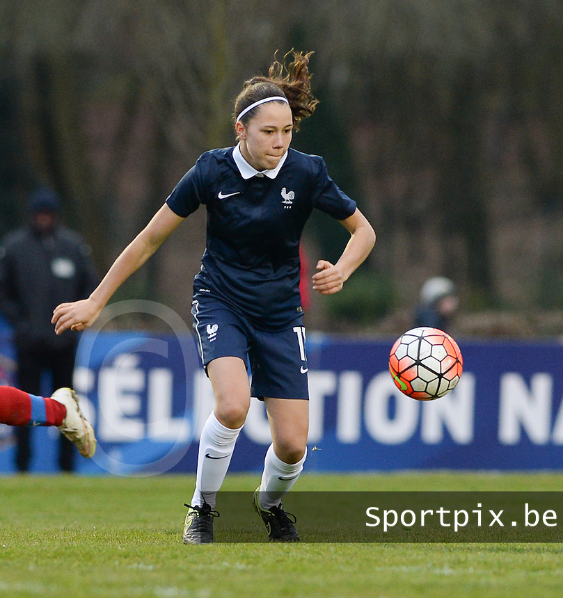 20160319 - FLERS , FRANCE : French Marion Rey pictured during the soccer match between the women under 17 teams of  France and the Czech Republic , on the first matchday in group 3 of the UEFA Women Under17 Elite rounds at Stade du Haze in Flers , France . Saturday 19th March 2016 . PHOTO DAVID CATRY