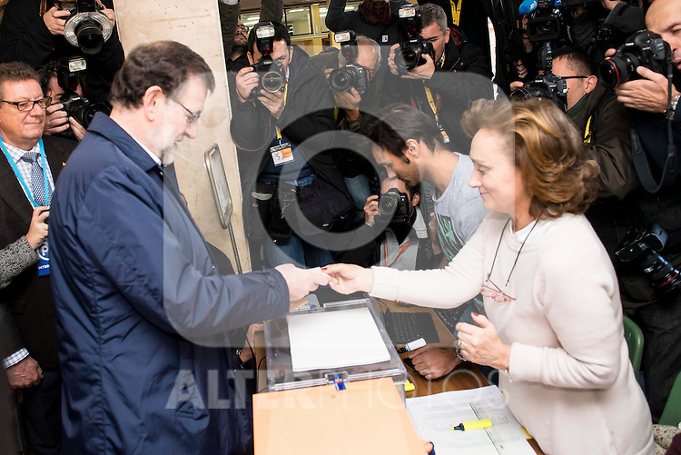 The Prime Minister and candidate of the Partido Popular, Mariano Rajoy goes to the polls to vote at Bernadette school in Aravaca, Madrid, December 20, 2015. <br /> (ALTERPHOTOS/BorjaB.Hojas)