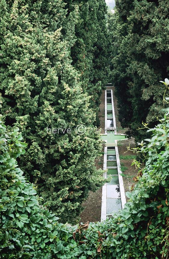 06/ Jardin botanique &quot;Les Cèdres&quot;<br /> L'escalier d'eau bordé de cyprés tracé par l'architecte-paysagiste Harold Peto.