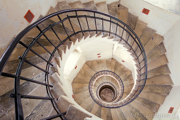 Lågskär Lighthouse stairwell has a dizzying seashell appearance from the top -Åland, Finland