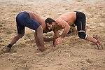 Wrestlers compete during the Beach Wrestling Men's competition between Pakistan and Iran on Day Eight of the 5th Asian Beach Games 2016 at Bien Dong Park on 01 October 2016, in Danang, Vietnam. Photo by Marcio Machado / Power Sport Images