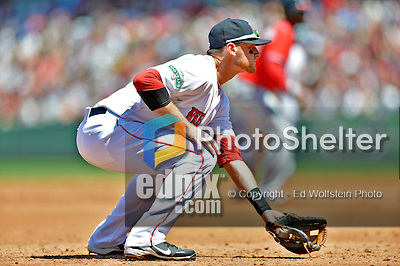 10 June 2012: Boston Red Sox third baseman Will Middlebrooks in action against the Washington Nationals at Fenway Park in Boston, MA. The Nationals defeated the Red Sox 4-3 to sweep their 3-game interleague series. Mandatory Credit: Ed Wolfstein Photo