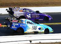 Mar 19, 2017; Gainesville , FL, USA; NHRA funny car driver Tim Wilkerson (near) races alongside Jack Beckman during the Gatornationals at Gainesville Raceway. Mandatory Credit: Mark J. Rebilas-USA TODAY Sports