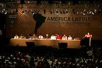 The presidents of (L-R) Paraguay, Fernando Lugo; Bolivia, Evo Morales; Brazil, Luiz Inacio Lula da Silva; Ecuador, Rafael Correa and Venezuela, Hugo Chavez, meet during of the World Social Forum in Belem, Para, Brazil on January 29, 2009