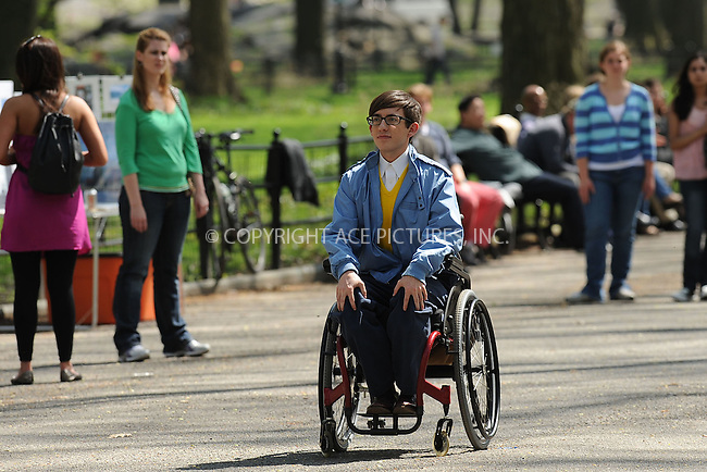 WWW.ACEPIXS.COM . . . . . .April 26, 2011...New York City...Kevin McHale filming an episode of the hit series 'Glee' in Central Park on April 26 2011 in New York City. on April 26, 2011 in New York City....Please byline: KRISTIN CALLAHAN - ACEPIXS.COM.. . . . . . ..Ace Pictures, Inc: ..tel: (212) 243 8787 or (646) 769 0430..e-mail: info@acepixs.com..web: http://www.acepixs.com .