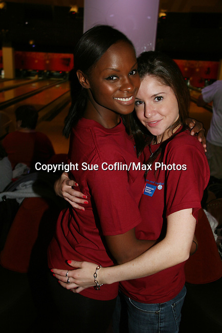 One Life To Live's Layla Williamson and Brittany Underwood at the 2009 Daytime Stars and Strikes to benefit the American Cancer Society to benefit the American Cancer Society on October 11, 2009 at the Port Authority Leisure Lanes, New York City, New York. (Photo by Sue Coflin/Max Photos)
