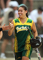 Hutt Valley's Toni Toka celebrates a run during round two of the National Women's Softball Championships at Hataitai Park, Wellington, NewZealand on Sunday 2 February 2009. Photo: Dave Lintott / lintottphoto.co.nz
