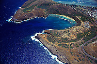 Aerial view of Hanauma Bay,an underwater paradise where snorkelers come face to face with Hawaii's colorful reef fishes.