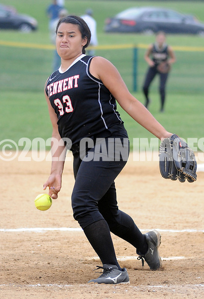 William Tennent's Kalisi Taufele throws a pitch against a Council Rock North batter in the 2nd inning Monday May 18, 2015 at Council Rock North in Newtown, Pennsylvania. William Tennent defeated Council Rock North 4-0 in the first-round District One Class AAAA softball playoff game. (Photo by William Thomas Cain/Cain Images)