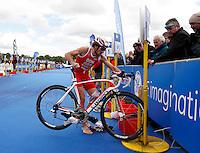 Photo: Richard Lane/Richard Lane Photography. GE Strathclyde Park Triathlon. 22/05/2011. Elite Men winner, Tim Don in transition.
