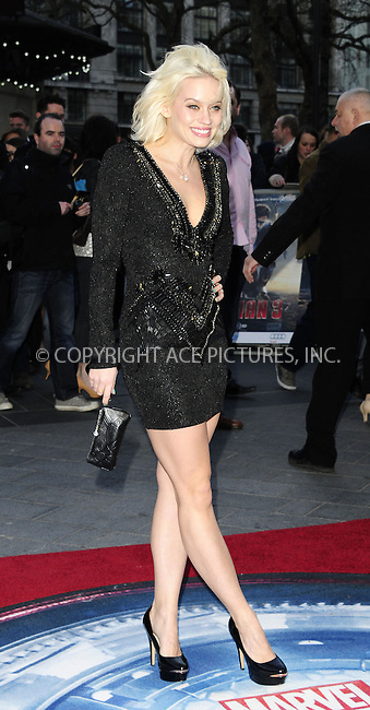 WWW.ACEPIXS.COM....US Sales Only....April 18 2013, London....Kimberly Wyatt at the premiere of 'Iron Man 3' held at the Odeon Leicester Square on April 18 2013 in London ....By Line: Famous/ACE Pictures......ACE Pictures, Inc...tel: 646 769 0430..Email: info@acepixs.com..www.acepixs.com