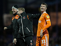 Blackpool's Chris Long celebrates victory at the end of the match<br /> <br /> Photographer Andrew Kearns/CameraSport<br /> <br /> The EFL Sky Bet League One - Portsmouth v Blackpool - Saturday 12th January 2019 - Fratton Park - Portsmouth<br /> <br /> World Copyright &copy; 2019 CameraSport. All rights reserved. 43 Linden Ave. Countesthorpe. Leicester. England. LE8 5PG - Tel: +44 (0) 116 277 4147 - admin@camerasport.com - www.camerasport.com