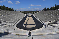 19th March 2020, Athens, Greece; The Olympic Flame, lit on Mount Olympia, is handed over officially to the  congregation from Japan, to be taken to Tokyo for the 2020 Olympic Games in July 2020. Picture shows a general view of the empty Panathenaic Stadium which held the handover ceremony of the Tokyo Olympic Flame