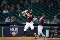 Hunter Stovall (13) of the Mississippi State Bulldogs at bat against the Louisiana Ragin' Cajuns in game three of the 2018 Shriners Hospitals for Children College Classic at Minute Maid Park on March 2, 2018 in Houston, Texas.  The Bulldogs defeated the Ragin' Cajuns 3-1.   (Brian Westerholt/Four Seam Images)