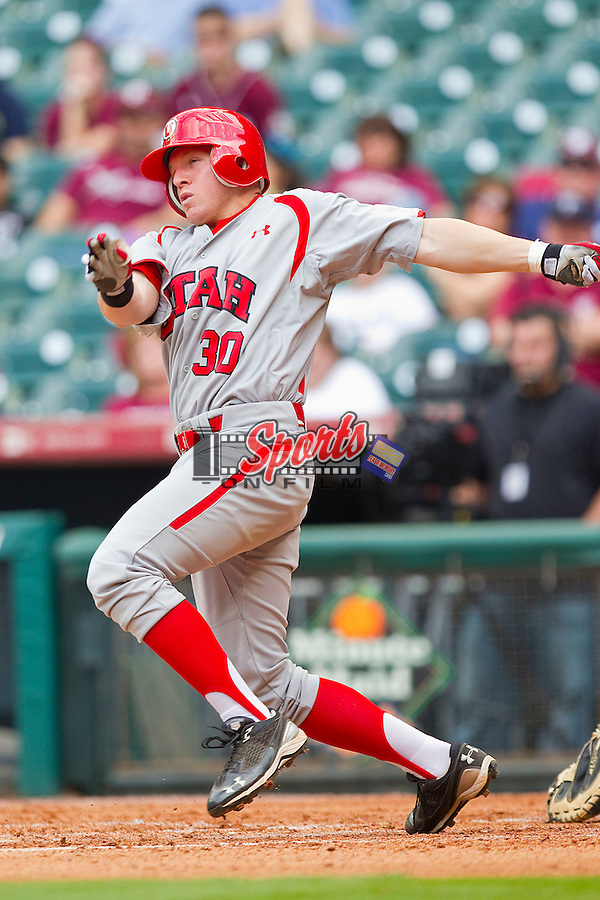 Shaun Cooper #30 of the Utah Utes follows through on his swing against the Texas A&M Aggies at Minute Maid Park on March 4, 2011 in Houston, Texas.  Photo by Brian Westerholt / Four Seam Images