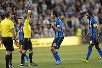 Alessandro Nesta (14) defender Montreal Impact is shown red card by referee Armando Villarreal.<br /> Montreal Impact defeated Sporting Kansas City 2-1 at Sporting Park, Kansas City, Kansas.