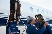 CAPE TOWN, SOUTH AFRICA - APRIL 1: Sol Kerzner, the South African hotel magnate, kisses his wife Heather, after arriving from Johannesburg in his private plane on April 1, 2009 in Cape Town, South Africa. Mr. Kerzner has finally returned to SA after spending many years overseas developing hotels. He opened a One&Only Hotel in Cape Town on April 3, 2009. (Photo by Per-Anders Pettersson)