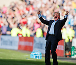 Gordon Strachan celebrates after Leigh Griffiths puts Scotland 2-1 up in the last minute. However....
