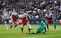 1st February 2020; London Stadium, London, England; English Premier League Football, West Ham United versus Brighton and Hove Albion; Lukasz Fabianski of West Ham United saves with his feet to deny Brighton and Hove Albion a late goal