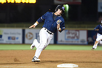 Lake County Captains catcher Eric Haase (13) rounds third on his way to score the game tying run during a game against the Dayton Dragons on June 7, 2014 at Classic Park in Eastlake, Ohio.  Lake County defeated Dayton 4-3.  (Mike Janes/Four Seam Images)