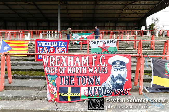 Wrexham 2 Ebbsfleet United 0, 18/11/2017. The Racecourse Ground, National League. Fans attaching a flag in the Kop end. Photo by Paul Thompson.