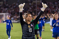 PASADENA, CA - AUGUST 4: Ashlyn Harris #18 salutes the crowd during a game between Ireland and USWNT at Rose Bowl on August 3, 2019 in Pasadena, California.