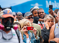 Mar 16, 2019; Gainesville, FL, USA; NHRA fans in the pits watch cars warm up during qualifying for the Gatornationals at Gainesville Raceway. Mandatory Credit: Mark J. Rebilas-USA TODAY Sports