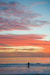 Santa Monica beach at sunset