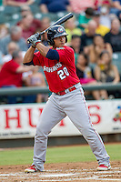 Oklahoma City RedHawks catcher Carlos Perez (20) at bat during the Pacific Coast League baseball game against the Round Rock Express on August 1, 2014 at the Dell Diamond in Round Rock, Texas. The Express defeated the RedHawks 6-5. (Andrew Woolley/Four Seam Images)