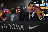 Paulo Fonseca reacts during his first press conference as AS Roma coach. <br /> Roma 08/07/2019 Centro Sportivo Trigoria <br /> Press Conference <br /> Football Calcio Serie A 2019/2020 <br /> Photo Andrea Staccioli / Insidefoto