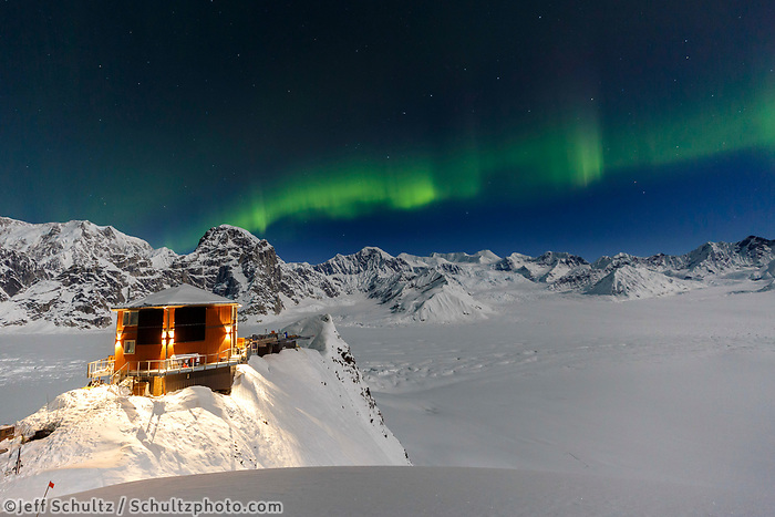 Sheldon Chalet.  Aurora Borealis -- Northern Lights in the Ruth Glacier and Amphitheater in the Alaska Range.  Winter 2017<br /> <br /> Photo by Jeff Schultz/SchultzPhoto.com  (C) 2017  ALL RIGHTS RESERVED