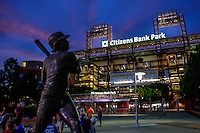 PHILADELPHIA, PA - JULY 2: An exterior view of the front of Citizens Bank Park with a statue of Mike Schmidt after a game between the Philadelphia Phillies and the Kansas City Royals at Citizens Bank Park on July 2, 2016 in Philadelphia, Pennsylvania. The Royals won 6-2. (Photo by Hunter Martin/Getty Images) *** Local Caption *** Mike Schmidt