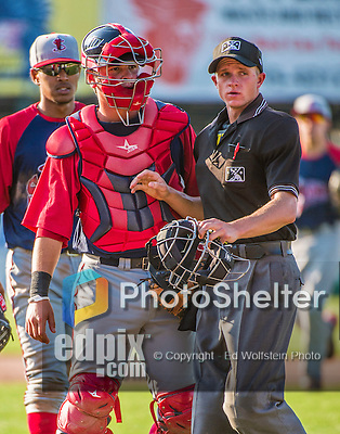 29 June 2014:  Lowell Spinners catcher David Sopilka has words with HP umpire Justin Houser during a game against the Vermont Lake Monsters at Centennial Field in Burlington, Vermont. The Spinners defeated the Lake Monsters 7-5 in NY Penn League action. Mandatory Credit: Ed Wolfstein Photo *** RAW Image File Available ****